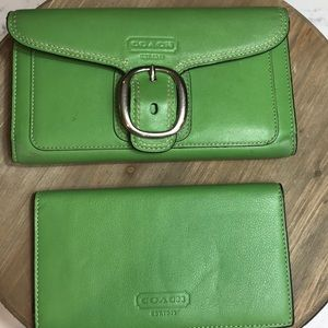Coach wallet and checkbook holder  Green